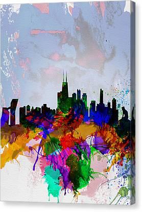 Copenhagen Watercolor Skyline Canvas Print by Naxart Studio