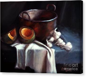 Copper Pot And Cantalpes Canvas Print by Viktoria K Majestic