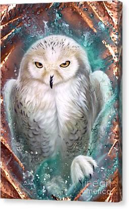 Copper Snowy Owl Canvas Print by Sandi Baker