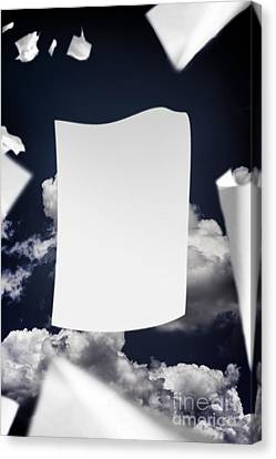 Copyspace Paper Document Flying In The Wind Canvas Print by Jorgo Photography - Wall Art Gallery