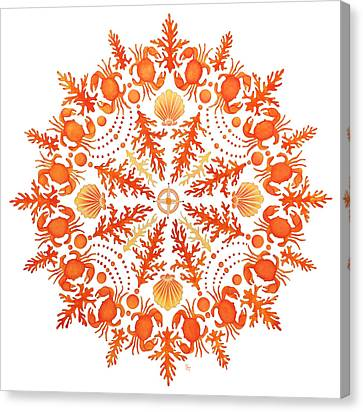 Coral Crab Mandala Canvas Print by Stephanie Troxell