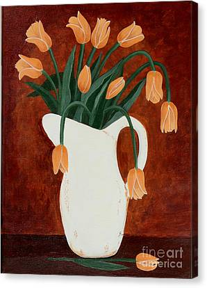 Coral Tulips In A Milk Pitcher Canvas Print by Barbara Griffin
