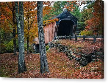 Corbin Covered Bridge Newport New Hampshire Canvas Print by Edward Fielding