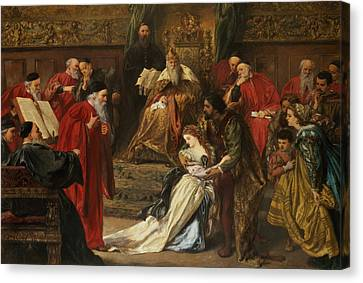 Cordelia In The Court Of King Lear, 1873 Canvas Print by Sir John Gilbert