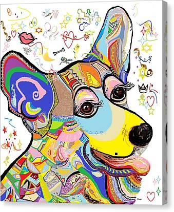 Corgi Cutie Canvas Print by Eloise Schneider