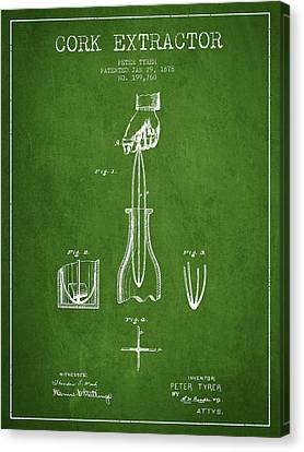Cork Extractor Patent Drawing From 1878 -green Canvas Print by Aged Pixel