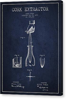 Cork Extractor Patent Drawing From 1878 -navy Blue Canvas Print by Aged Pixel