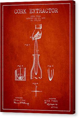 Cork Extractor Patent Drawing From 1878 - Red Canvas Print by Aged Pixel