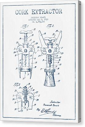 Cork Extractor Patent Drawing From 1930- Blue Ink Canvas Print by Aged Pixel