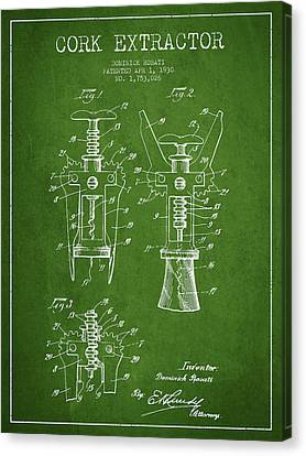 Cork Extractor Patent Drawing From 1930 - Green Canvas Print by Aged Pixel