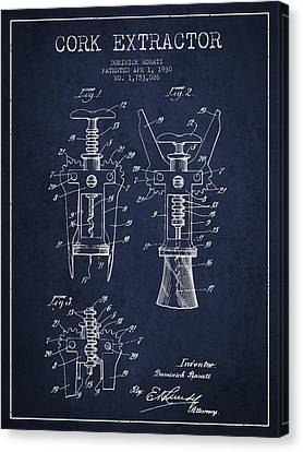 Cork Extractor Patent Drawing From 1930 - Navy Blue Canvas Print by Aged Pixel