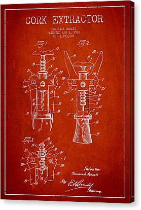 Cork Extractor Patent Drawing From 1930 - Red Canvas Print by Aged Pixel
