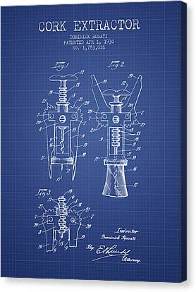 Cork Extractor Patent From 1930- Blueprint Canvas Print by Aged Pixel