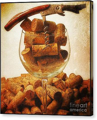 Corks And Elegant Corkscrew Canvas Print by Stefano Senise