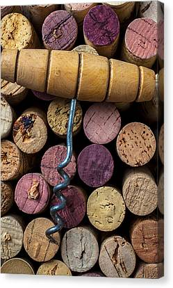 Corkscrew On Top Of Wine Corks Canvas Print by Garry Gay