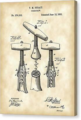Corkscrew Patent 1883 - Parchment Canvas Print by Stephen Younts