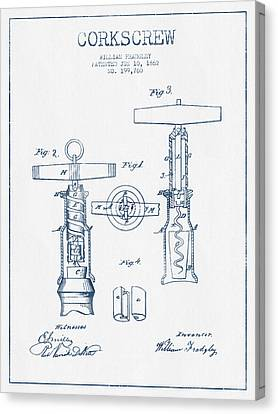 Corkscrew Patent Drawing From 1862 - Blue Ink Canvas Print by Aged Pixel