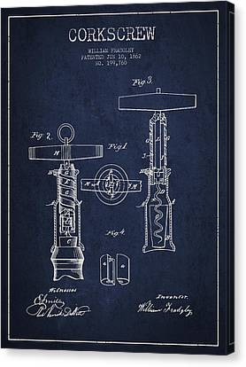 Corkscrew Patent Drawing From 1862 - Navy Blue Canvas Print by Aged Pixel