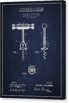 Corkscrew Patent Drawing From 1897 - Navy Blue Canvas Print by Aged Pixel