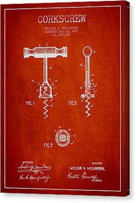 Corkscrew Patent Drawing From 1897 - Red Canvas Print by Aged Pixel
