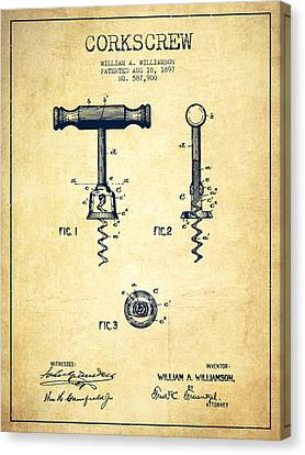 Corkscrew Patent Drawing From 1897 - Vintage Canvas Print by Aged Pixel