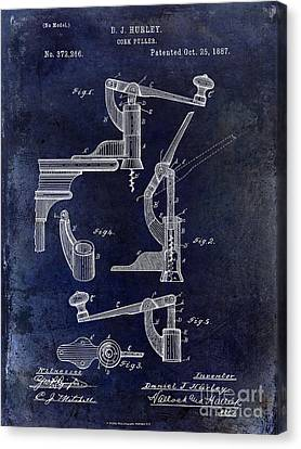 1887 Corkscrew Patent Drawing Canvas Print by Jon Neidert