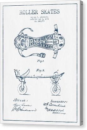 Cornelius Roller Skate Patent Drawing From 1881  - Blue Ink Canvas Print by Aged Pixel