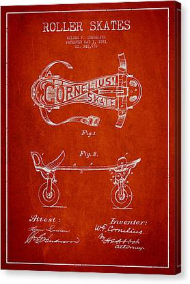 Cornelius Roller Skate Patent Drawing From 1881 - Red Canvas Print by Aged Pixel