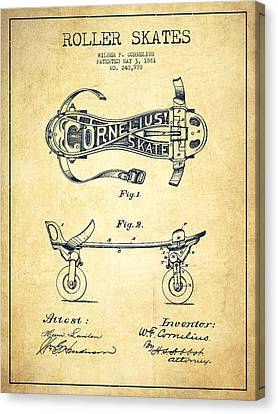 Cornelius Roller Skate Patent Drawing From 1881 - Vintage Canvas Print by Aged Pixel