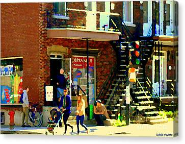 Corner Laurier Marche Maboule Depanneur Summer Stroll With Baby Carriage Montreal Street Scene Canvas Print by Carole Spandau