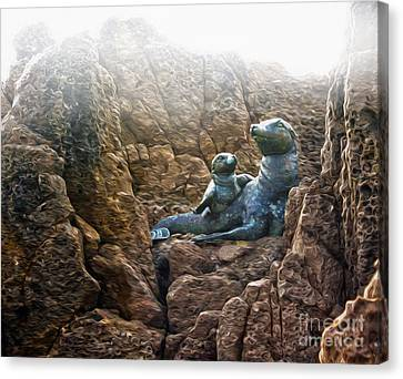 Corona Del Mar Seals Statue Canvas Print by Gregory Dyer