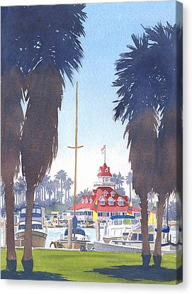 Coronado Boathouse And Palms Canvas Print by Mary Helmreich