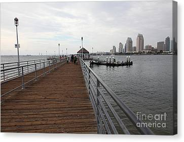Coronado Pier Overlooking The San Diego Skyline 5d24353 Canvas Print by Wingsdomain Art and Photography