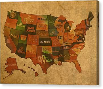 Corporate America Map Canvas Print by Design Turnpike