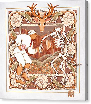 Corrido Del Venado Y Coyote En La Frontera Canvas Print by Ruth Hooper