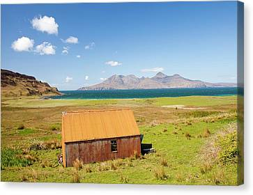 Corrugated Iron Barn At Cleadale Canvas Print by Ashley Cooper