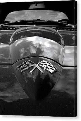 Corvette In Black And White Canvas Print by Bill Gallagher