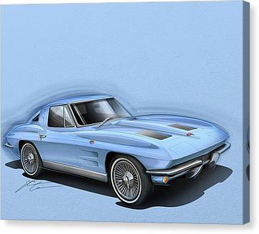 Corvette Sting Ray 1963 Light Blue Canvas Print by Etienne Carignan