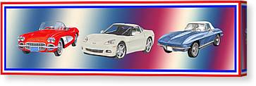 Corvettes In Red White And True Blue Canvas Print by Jack Pumphrey