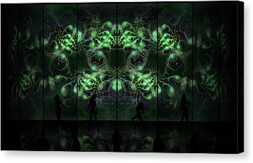 Cosmic Alien Vixens Green Canvas Print by Shawn Dall