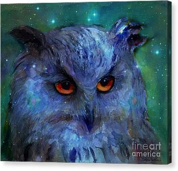 Cosmic Owl Painting Canvas Print by Svetlana Novikova