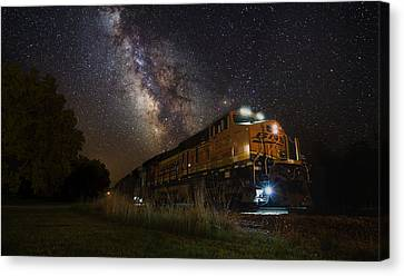Cosmic Railroad Canvas Print by Aaron J Groen