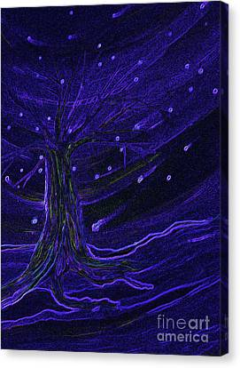 Cosmic Tree Blue Canvas Print by First Star Art
