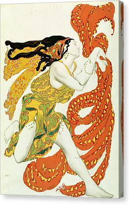 Costume Design For A Bacchante In Narcisse By Tcherepnin Canvas Print by Leon Bakst