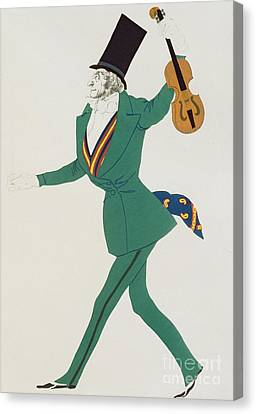 Costume Design For Paganini In The Enchanted Night Canvas Print by Leon Bakst