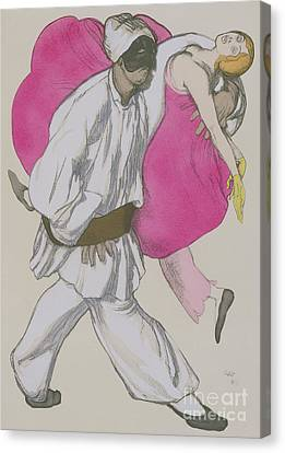 Costume Designs For Pamina And Monostatos In The Magic Flute Canvas Print by Leon Bakst