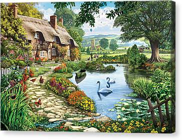 Cottage By The Lake Canvas Print by Steve Crisp