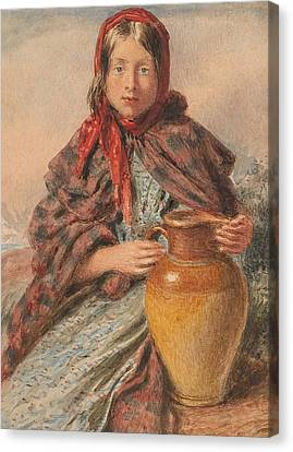 Cottage Girl Seated With A Pitcher Canvas Print by William Henry Hunt
