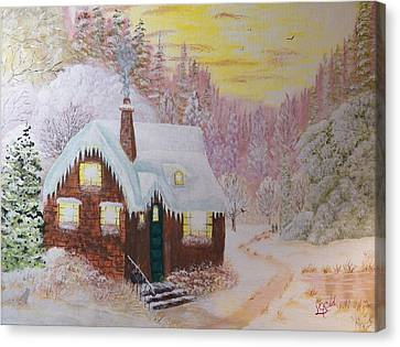 Cottage In The Woods Canvas Print by Laurie Kidd