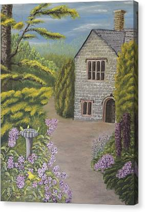 Cottage In The Woods Canvas Print by Lou Magoncia